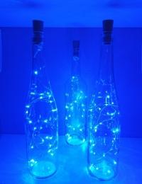 Deko LED-Flasche mit blauen Flaschenlicht Dekoflasche