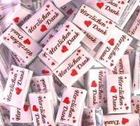 """Mini Schokoladen """"Herzlichen Dank"""" 100 Stk., Tischdeko Gastgeschenk"""