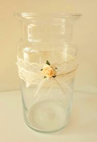 Vase Vintage, Windlicht, Dekoglas Hochzeitsdeko Deko