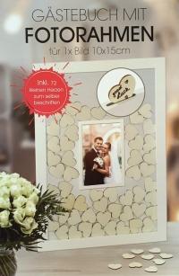 Gästebuch m. Fotorahmen Hochzeit Taufe Geburtstag